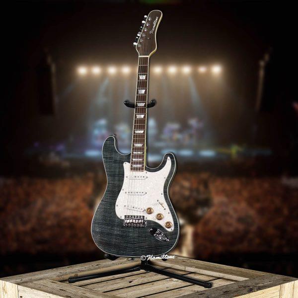 Bolt On/ST Custom Blue Electric Hamiltone Guitar Angle View