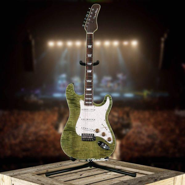 Bolt On/ST Custom Green Electric Hamiltone Guitar Full View