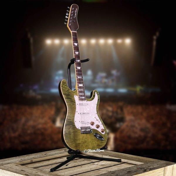 Bolt On/ST Custom Green Electric Hamiltone Guitar Angle View