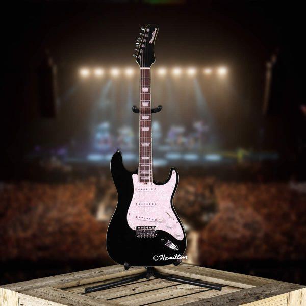 Hamiltone Jet Black Electric Guitar